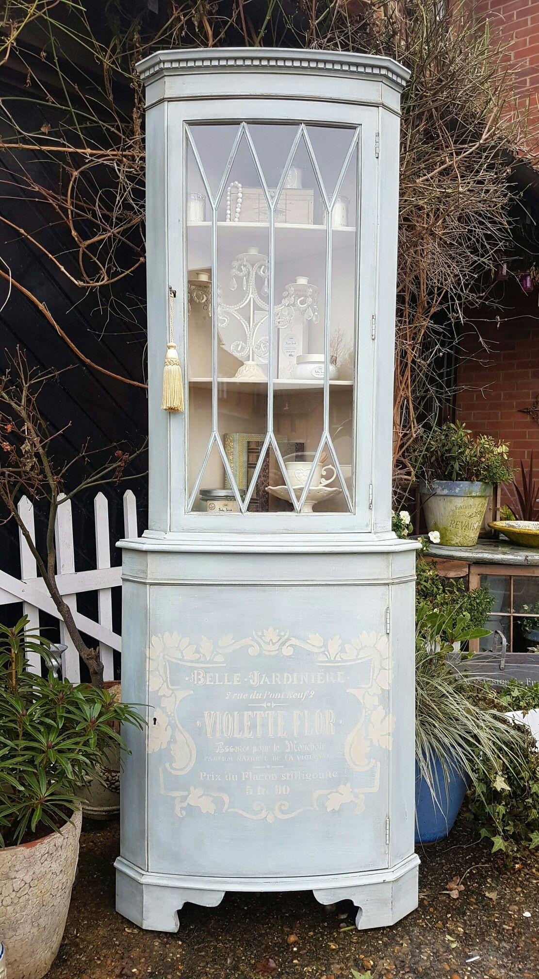 Vintage Corner Cabinet Shabby Chic Vintage Corner Display Cabinet In Annie Sloan Cream