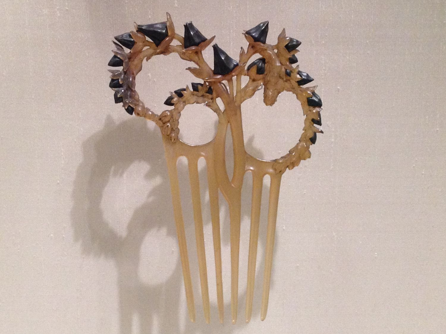 """Rene Lalique """"Thistle Stalks"""" comb c 1902 Horn and silver"""