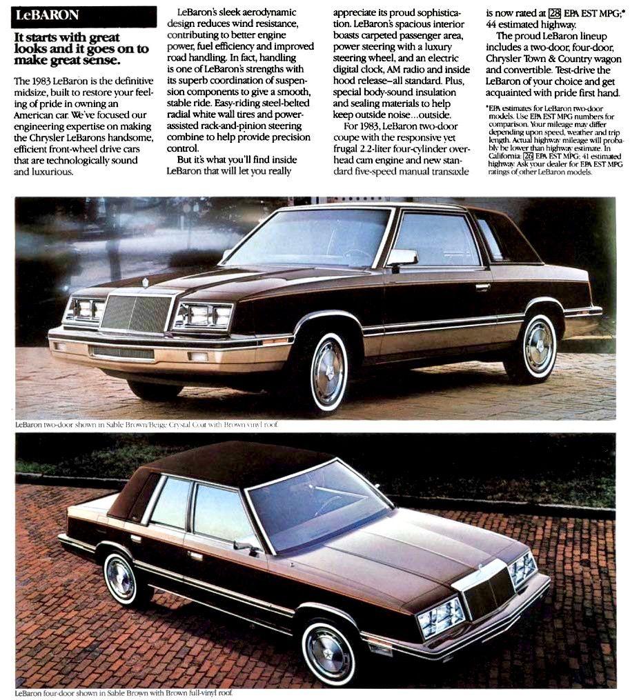 1983 Chrysler Lebaron Coupe And Sedan Chrysler Lebaron Chrysler