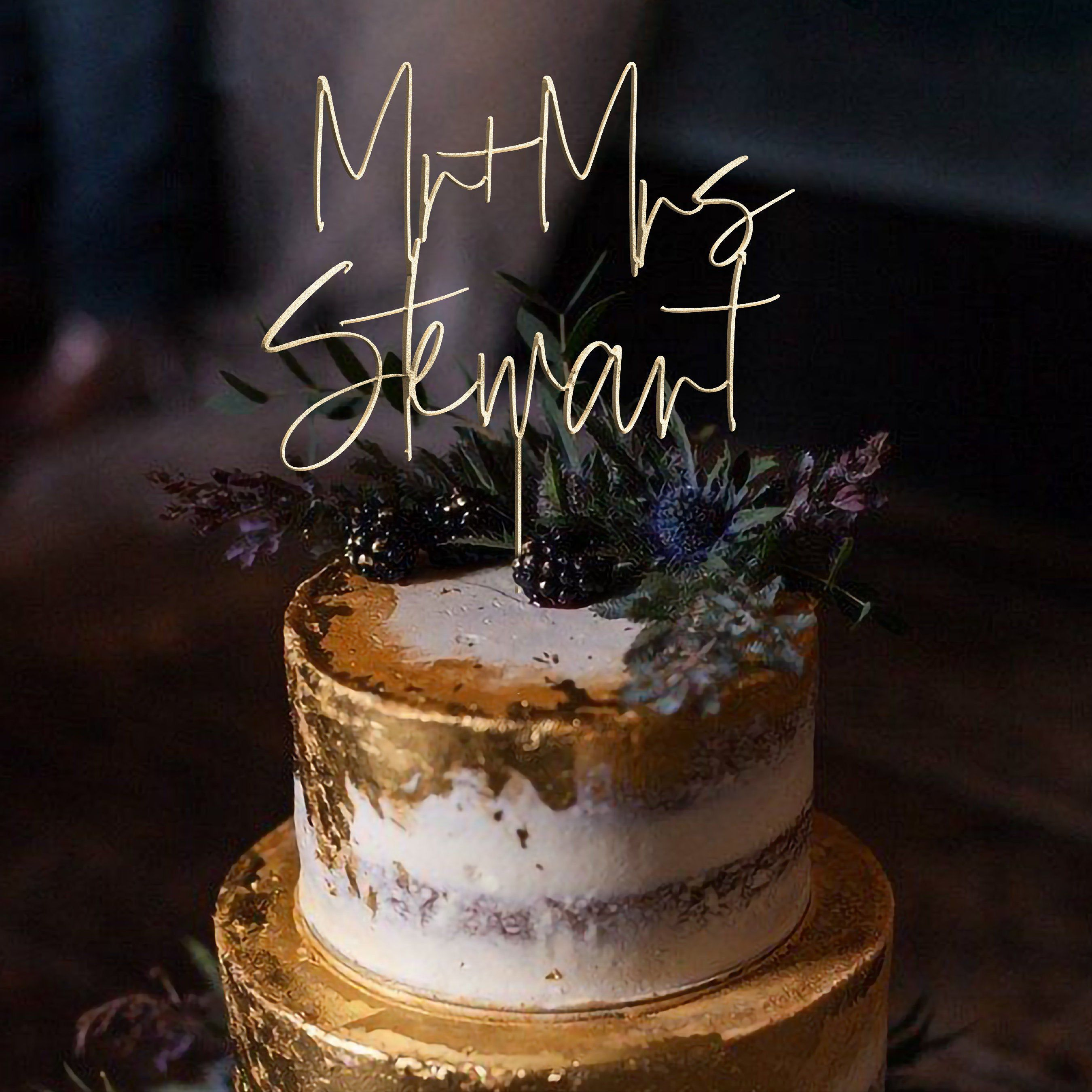 Gold mr and mrs cake toppers for wedding by rawkrft custom