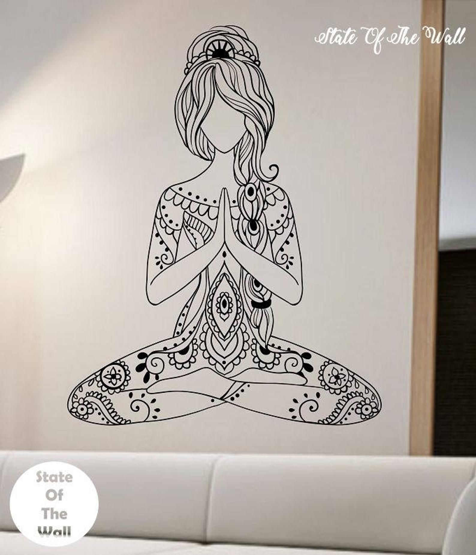 Meditating Yoga Wall Decal Flower Namaste Vinyl Sticker Art Etsy Sticker Art Wall Decals Mural