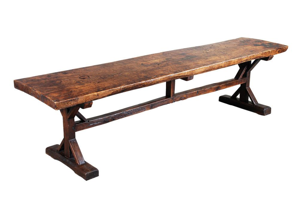 A 10\' Long Elm Trestle Table | Trestle tables, Dining room table and ...