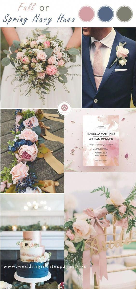 Top 8 Striking Navy Blue Wedding Color Palettes for 2019 Fallnavy and blush