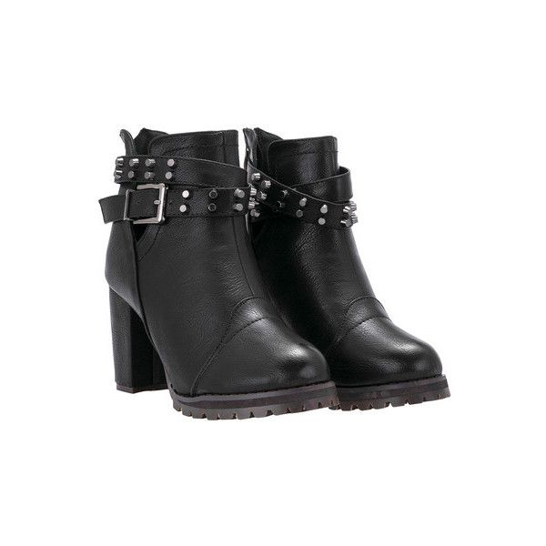 5161ec1eb4 SheIn(sheinside) Black High Heel Buckle Strap Stud PU Boots ($39) ❤ liked  on Polyvore featuring shoes, boots, black, high heel platform boots, round  toe ...