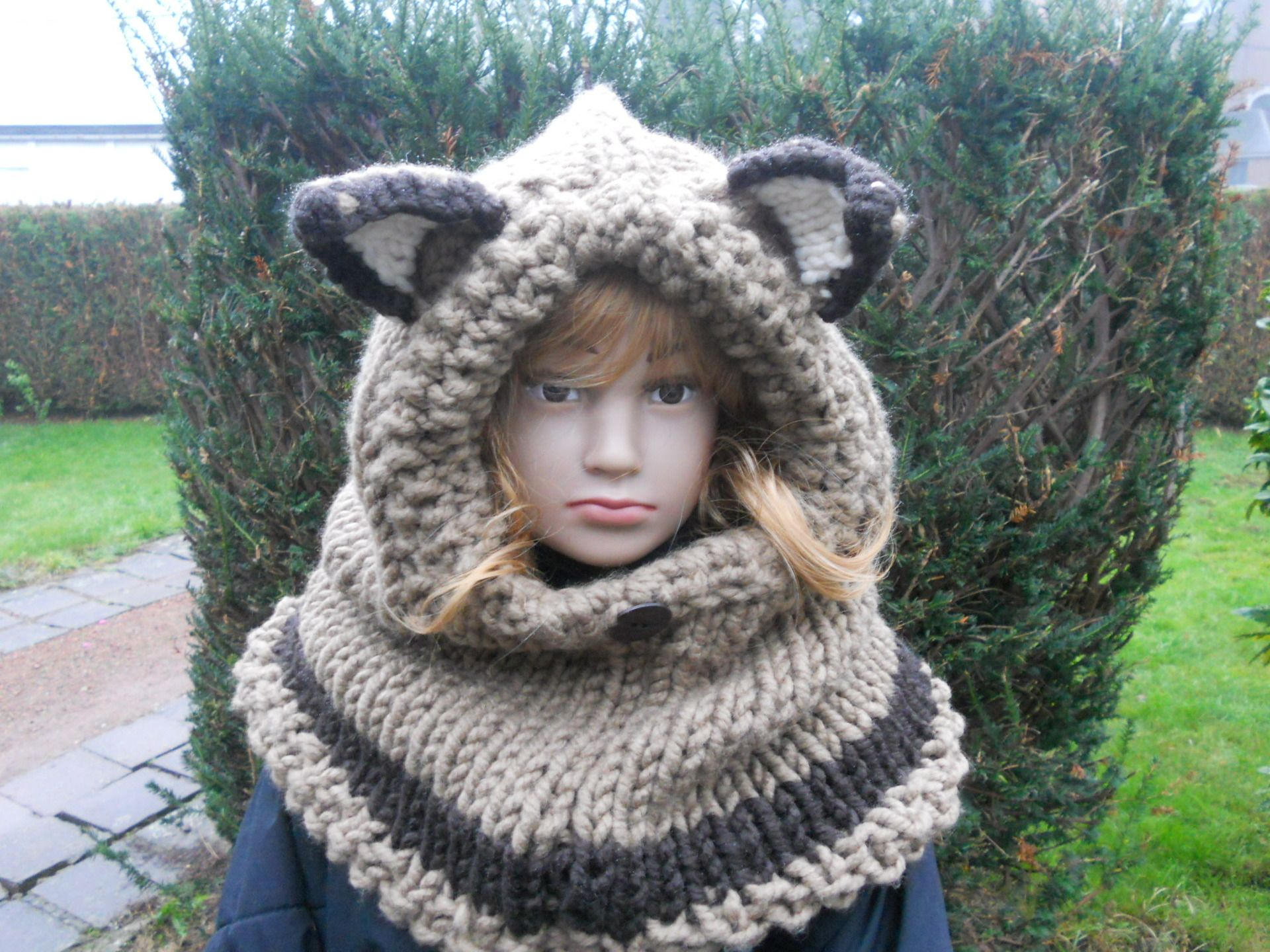 Cagoule à capuchon avec oreilles pointues de renard - Snood à capuchon -  Col à capuche, modèle