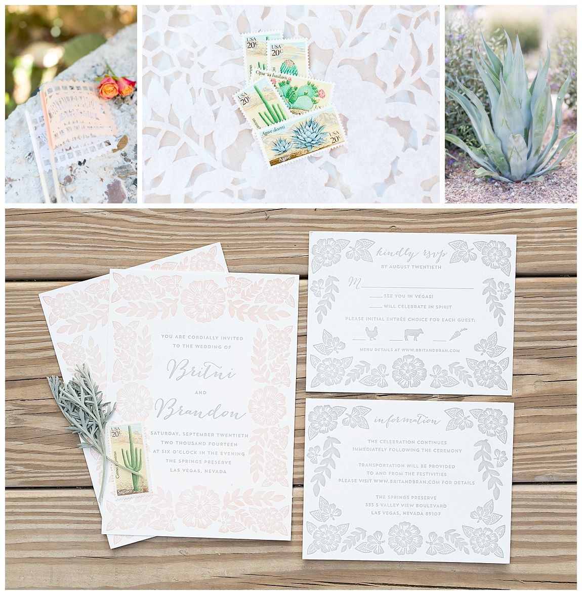 Las Vegas wedding planner, desert themed stamps, banderole, papel ...