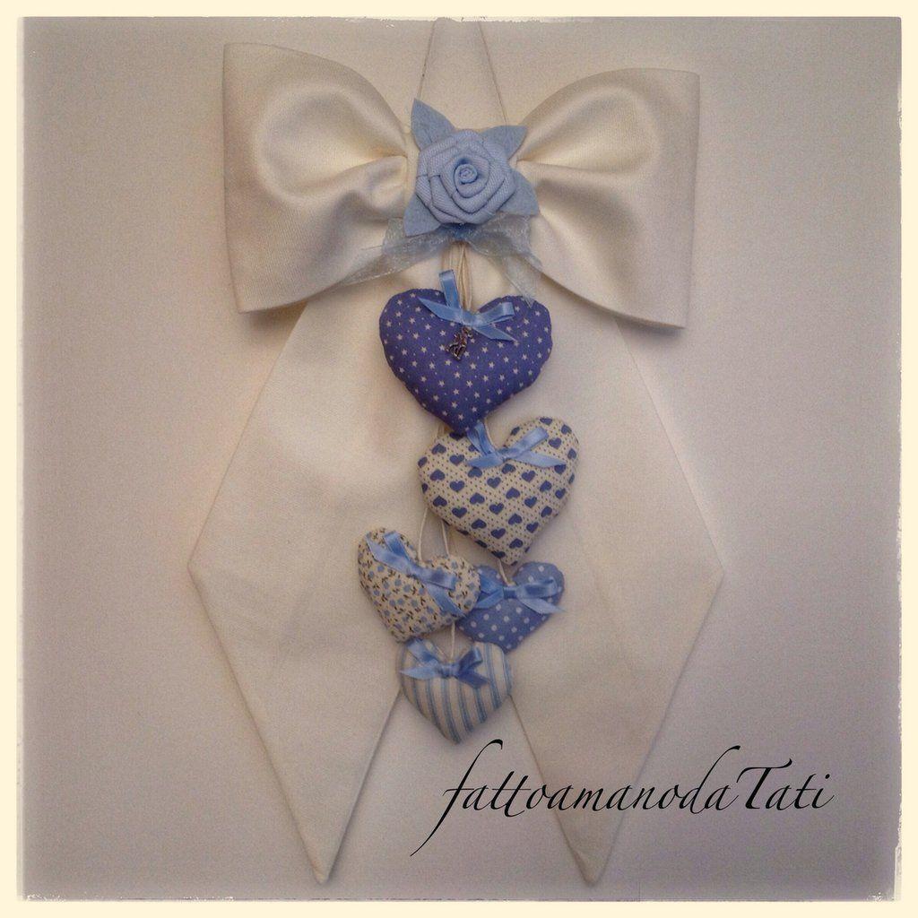 Fiocco nascita in piquet di cotone bianco con cuori fantasia azzurri, by fattoamanodaTati, su misshobby.com