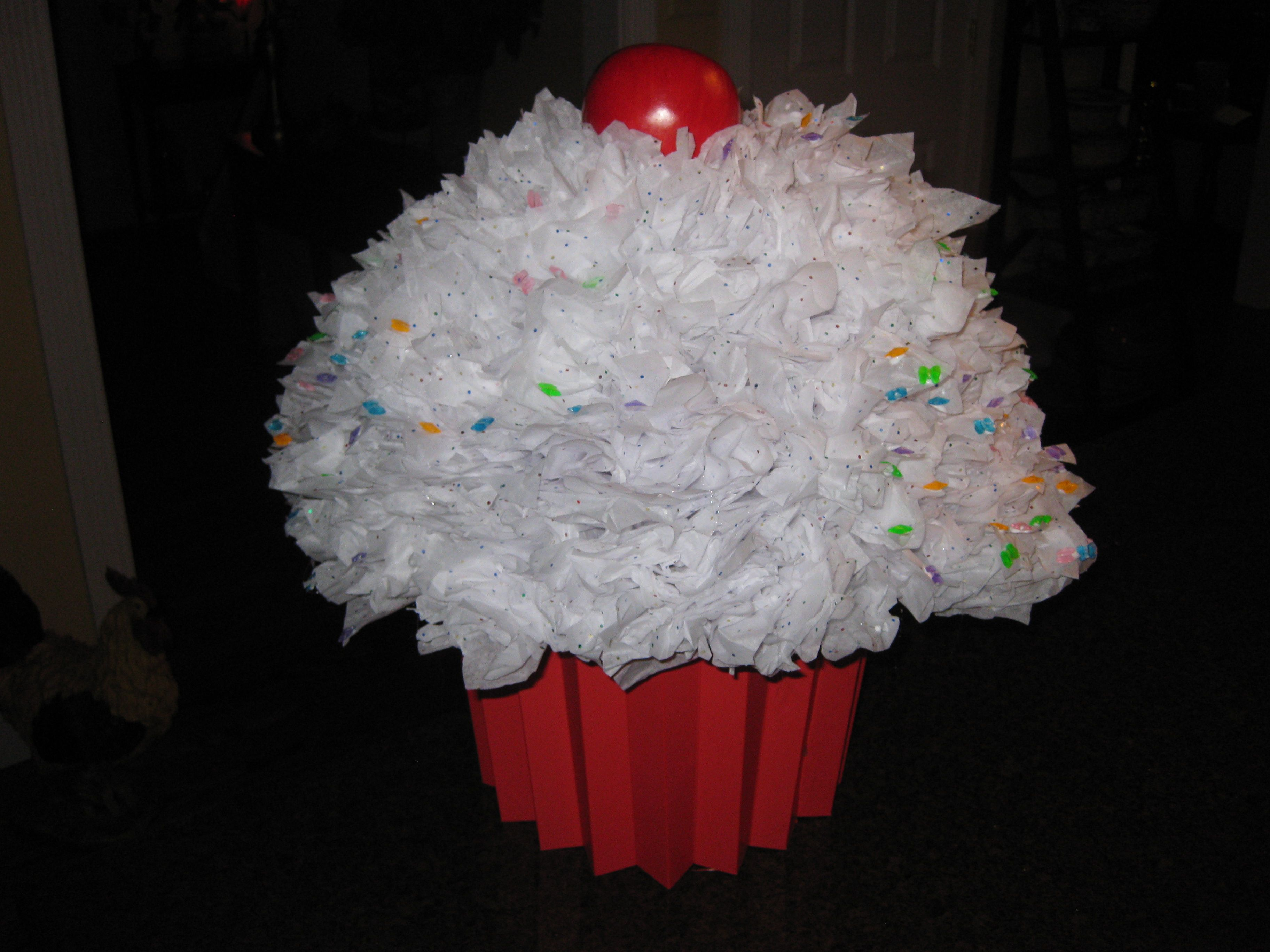 big cupcake valentines card holder made from plastic bowl a small plastic garbage can - Cupcake Valentine Box