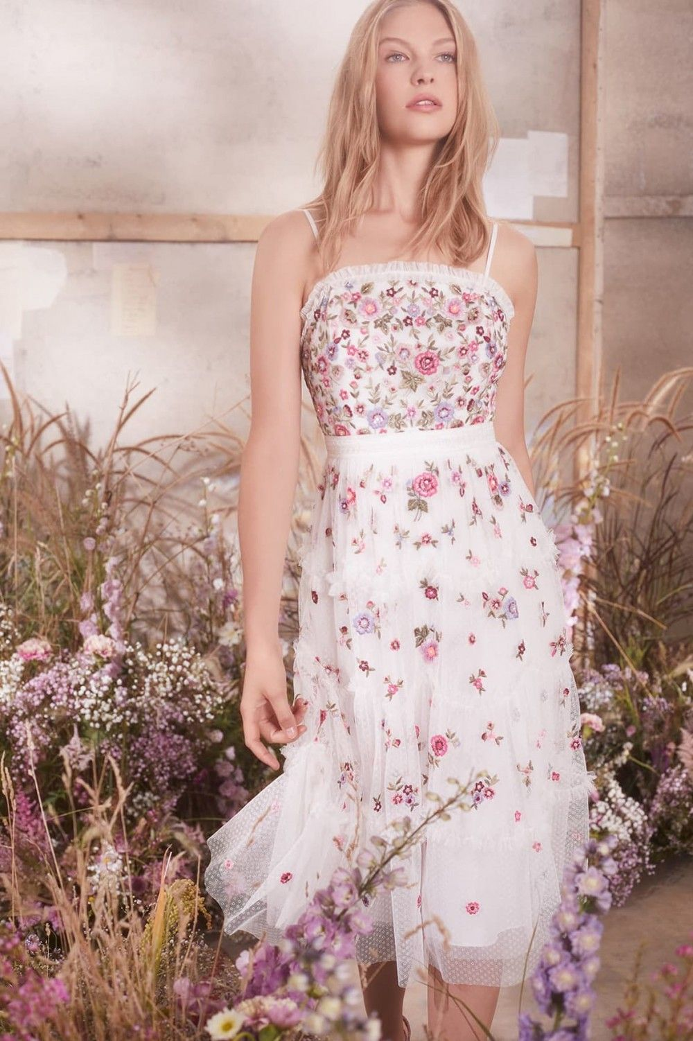 59b2ae3c0ad0 Midsummer Ditsy Dress in Ivory from Needle & Thread's New Season Collection.