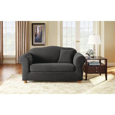 Sure Fit 3 Piece Stretch Pique Polyester Loveseat Slipcover Set Upholstery Black Products Pinterest Slipcovers And