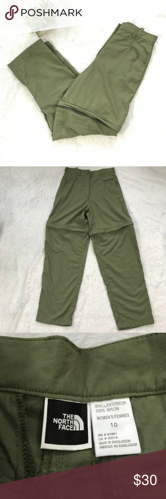 f01368c193 North Face Green Zip Away Hiking Pants Brand: The North Face Size: 10 There  are no flaws. Please see photos for measurements. The North Face Pants Track  ...