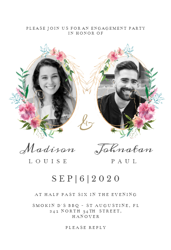 Sketchy Floral Double Photo Engagement Party Invitation Template Greetings Island Free Engagement Party Invitations Templates Engagement Invitations Engagement Invitation Template