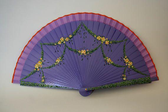 Spanish fan. Hand painted. Violet colour. Wooden folding fan.
