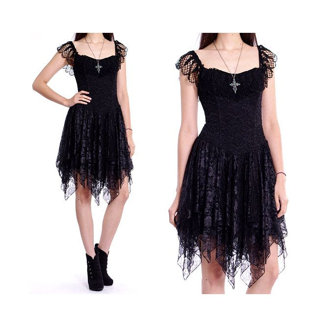 7fd9d44652 Vintage 80s Lace Dress - Black Sheer Crochet Bustier Ballerina Party Dress  - M.  76.00