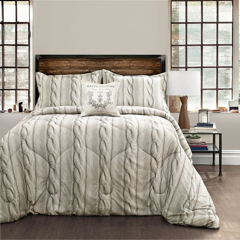 Printed Cable Knit 4 Piece Comforter Set Luxury Comforter Sets Comforter Sets King Comforter Sets