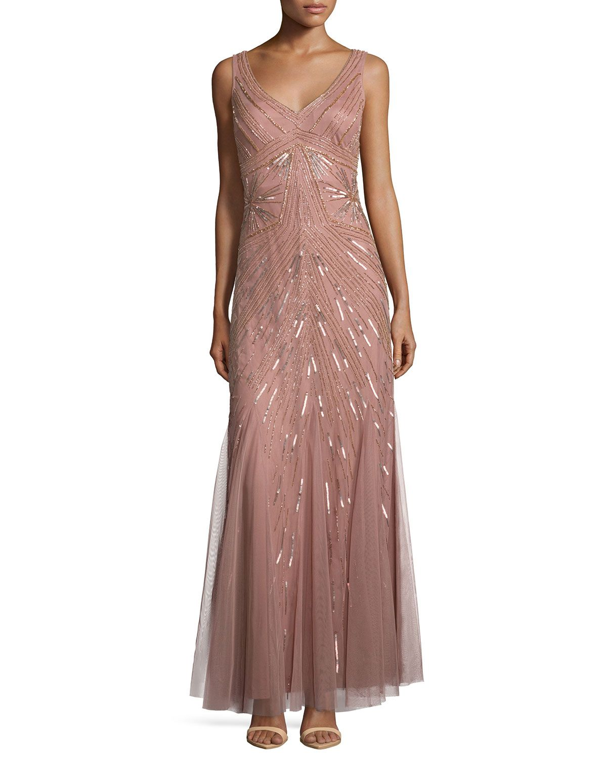 Aidan Mattox Sleeveless Two-Tone Beaded Gown | Gorgeous Gowns ...