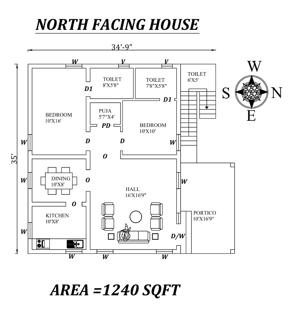 34 9 X35 Awesome Furnished North Facing 2bhk House Plan As Per Vastu Shastra Autocad Dwg And Pdf File De 2bhk House Plan North Facing House Little House Plans