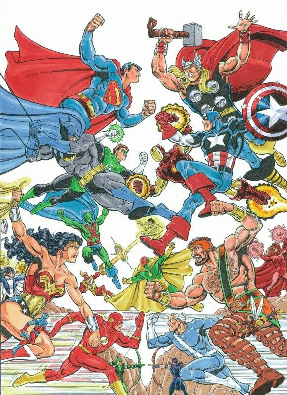 The Jla Vs The Avengers By Mitch Ballard I Would Be Remiss If I Ever Excluded The Justice League A Marvel And Dc Crossover Marvel Superheroes Marvel Dc Comics