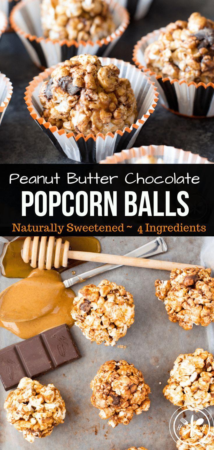 Peanut Butter Chocolate Healthy Popcorn Balls Recipe #popcornballs
