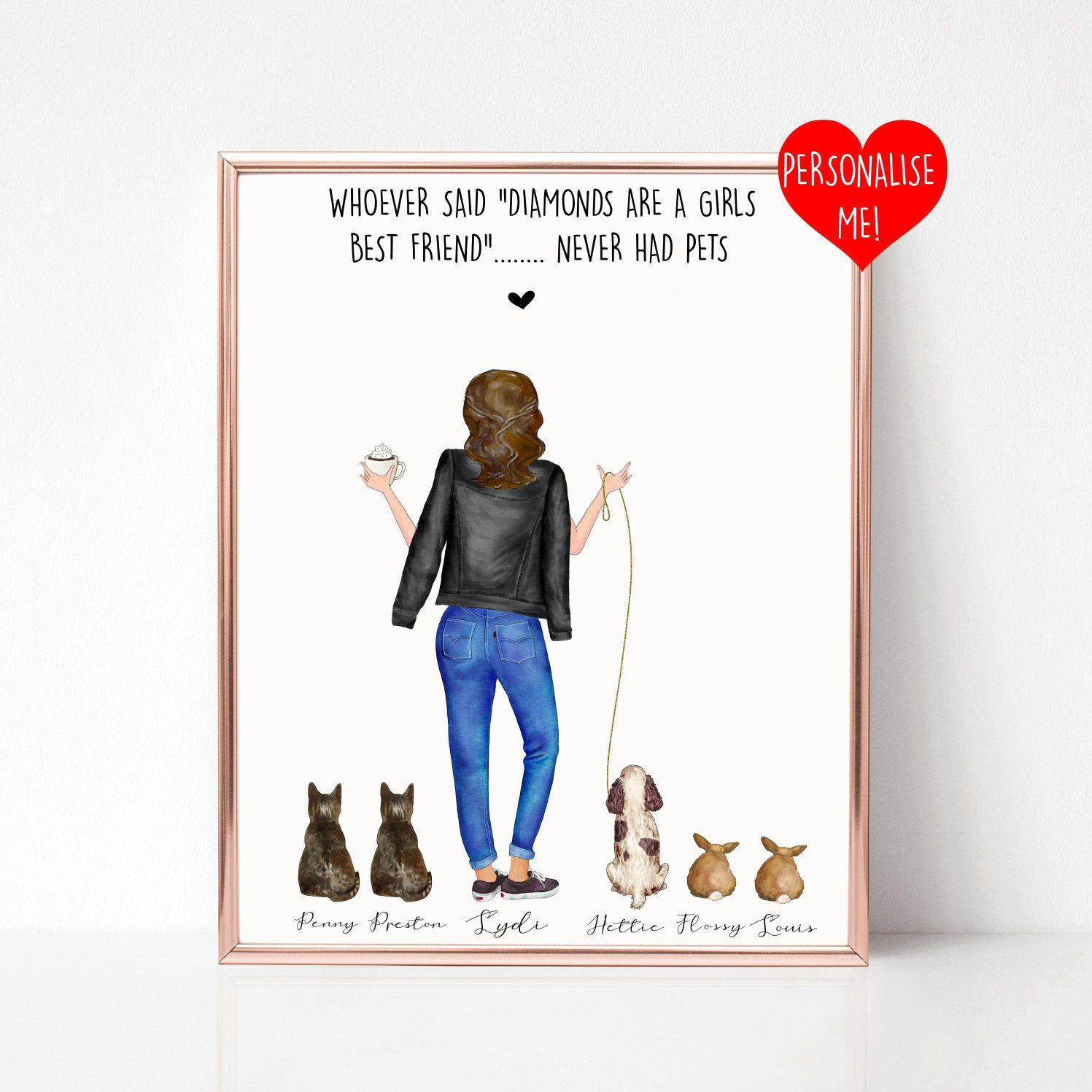 Personalised Pet Print, Pet Lover Gift, Pet Portrait, Dog Gift, Best Friend Print, Dog Mom Gift, Pet Owner Gift, Personalised Print, Custom