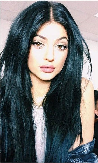 Kylie Jenner And Her Raven Black Mane Hair Jet Black Hair Color