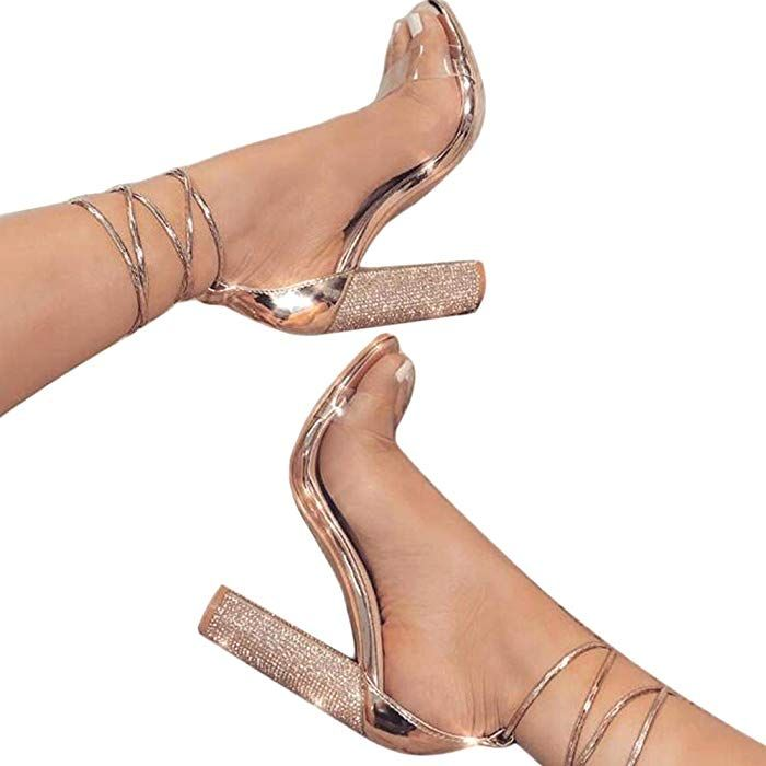 ed9b615d570eb Amazon.com: Women's Gold High Heels Sandals with Rhinestone Ankle Strappy  Clear Chunky Heels