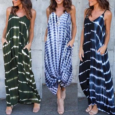 30e77a6f61f ZANZEA Women Stripe Wave Long Maxi Dress Deep V Low Cut Summer Beach Dress  Plus