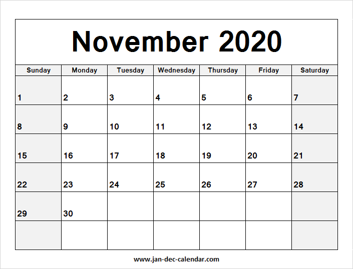 Calendar For November 2020-January 2020 Blank Calendar November 2020 | January December Calendar | June
