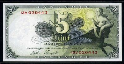 German currency 5 Deutsche Mark banknote, Bank Deutscher