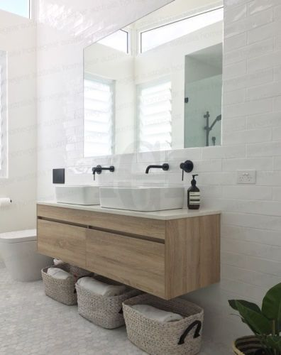 Pics On IBIZA mm WHITE OAK Timber Wood Grain Wall Hung Double Vanity w Stone Top