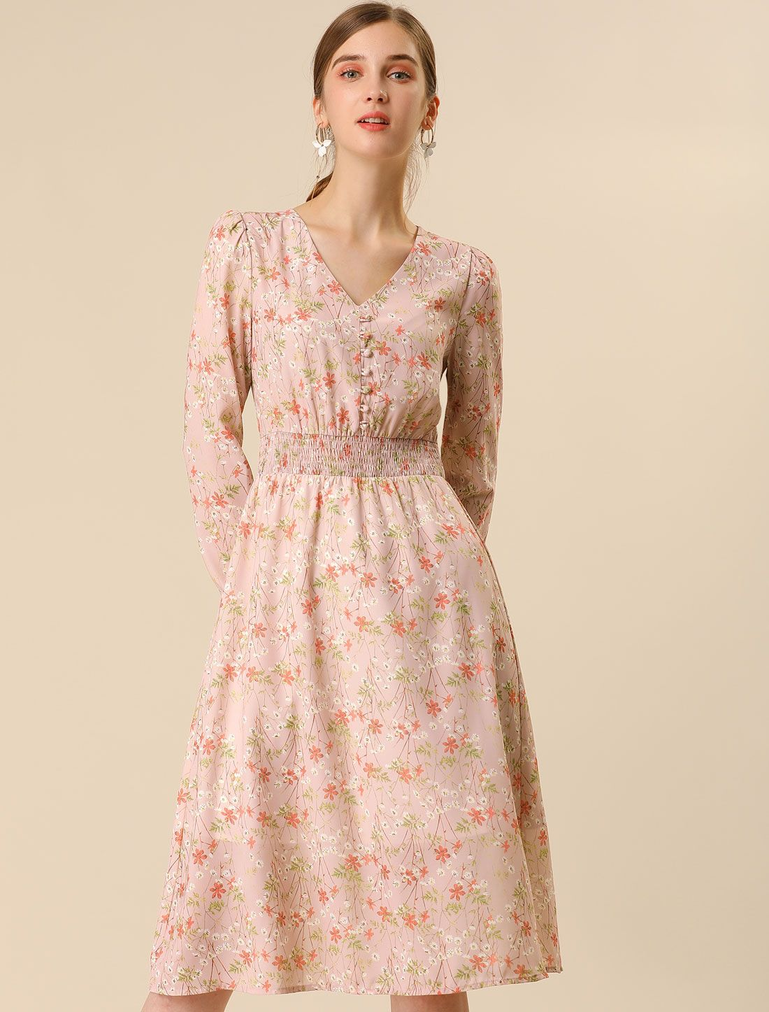 Women S Floral Print V Neck Smocked Waist Midi A Line Dress S Pink Ad Neck Affiliate Smocked Print In 2020 A Line Dress Autumn Street Style Dresses [ 1447 x 1100 Pixel ]