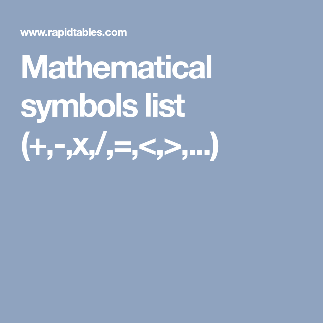 Mathematical Symbols List X Ged Mathematics