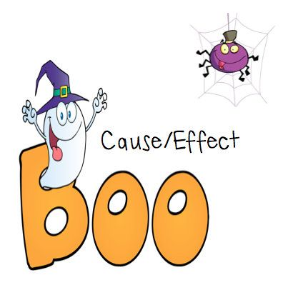 From SRN: Each letter B contains an Effect. The O's contain causes. Discuss multiple causes for effects with your students. Lay out all the B cards. Have your students decide which O's match to spell BOO.