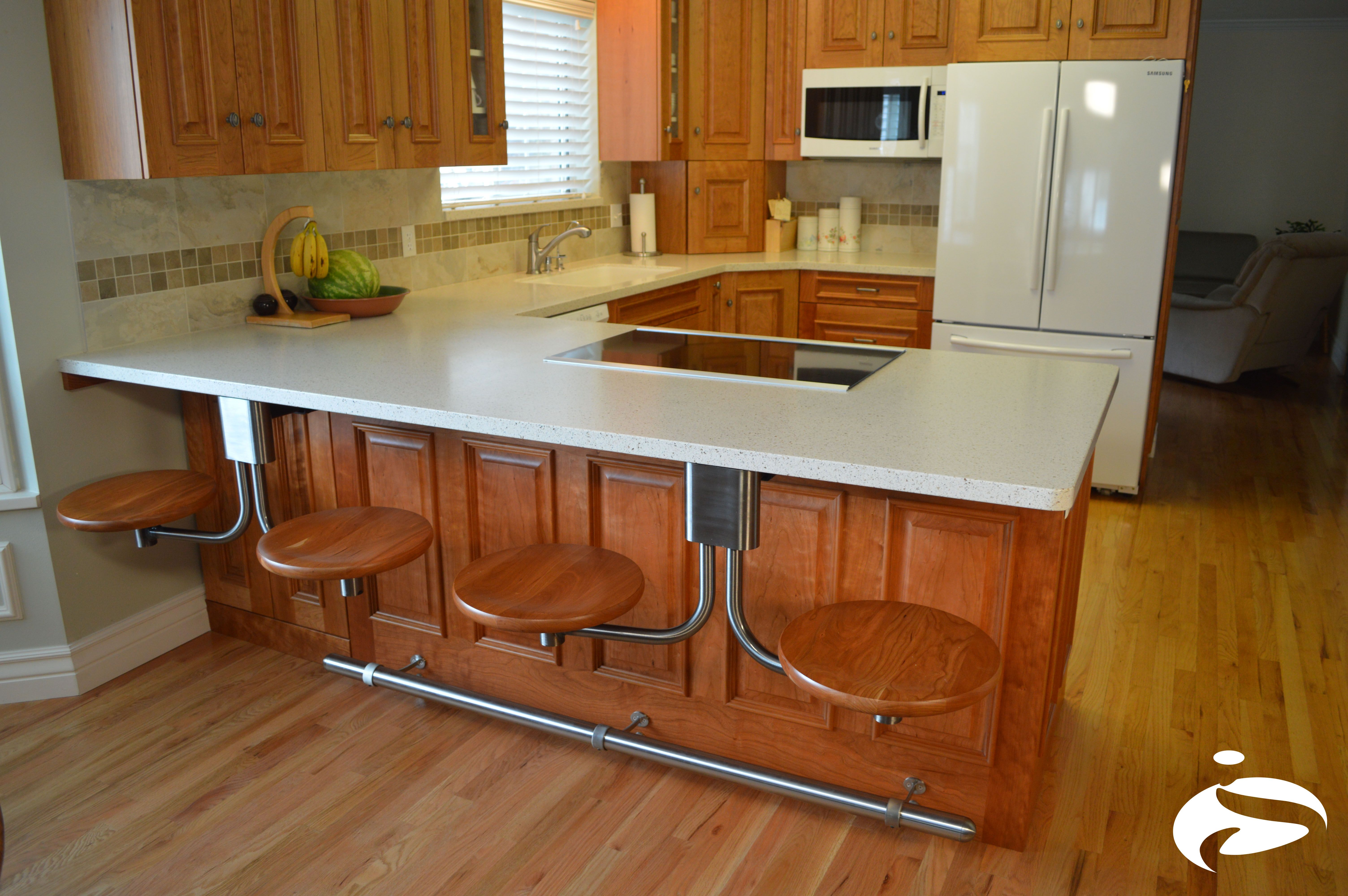 Round Stools Are A Great Solution For A Small Kitchen