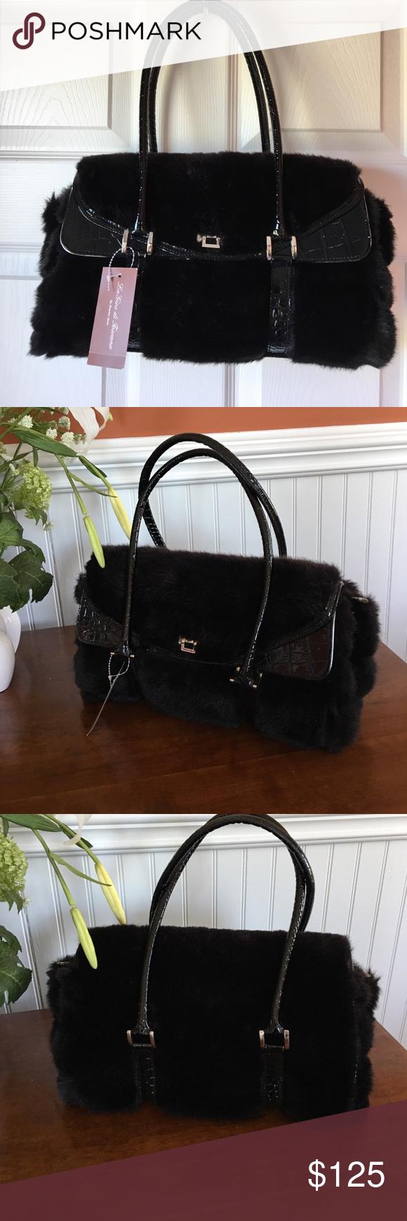 La Gioe Di Toscana Handbag By Sharon Very Pretty Brand Nwt Black Faux Fur With Alligator Print Vinyl Silver