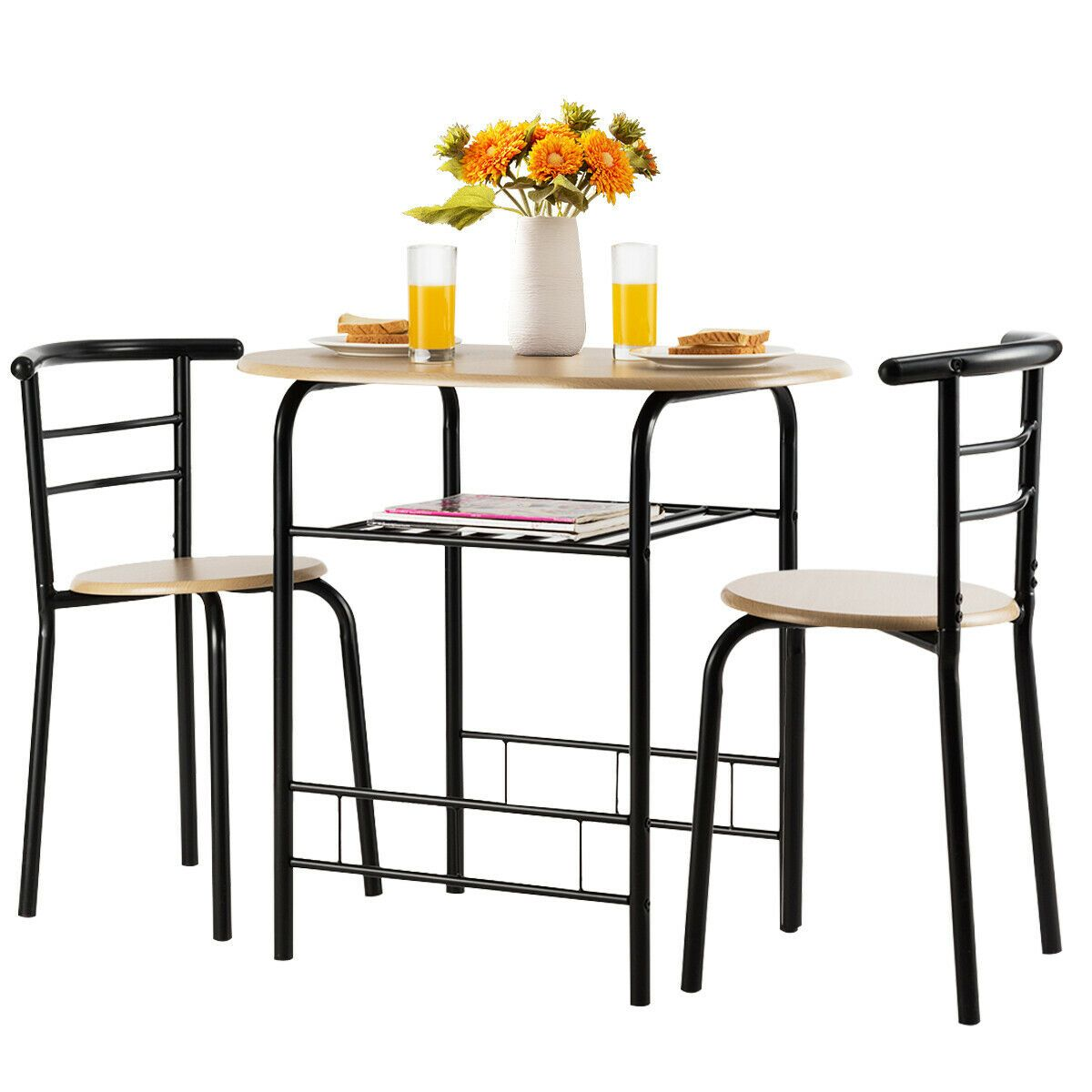 3 Pcs Home Kitchen Bistro Pub Dining Table 2 Chairs Set Dining