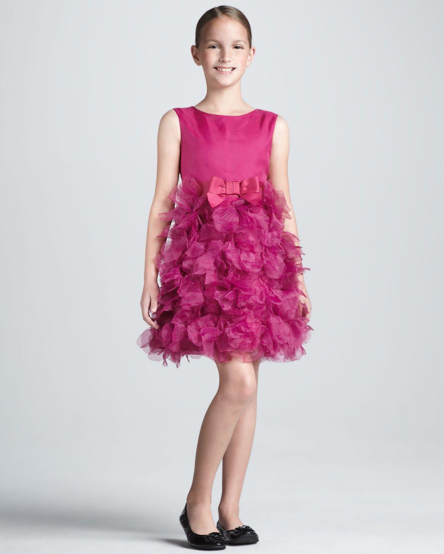 Target Neiman Marcus Marchesa Pink Fushia Silk Ruffle Dress L 8 9 10 ...