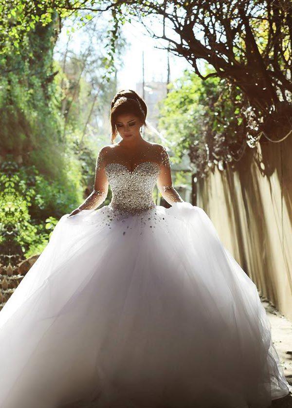 Vestido de novia Estrellado Corpiño Acentuado con Perla Sala Manga ...