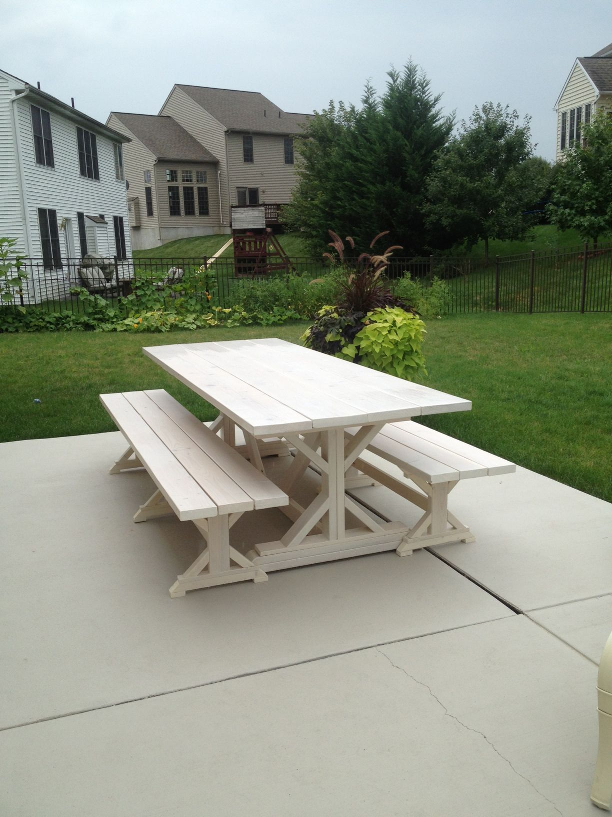 Fancy x farmhouse table and benches do it yourself home