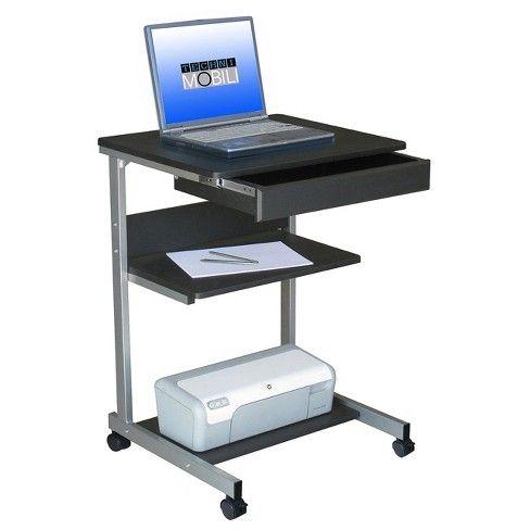 Rolling Laptop Cart With Storage Black Techni Mobili Desk Storage Laptop Desk Desk