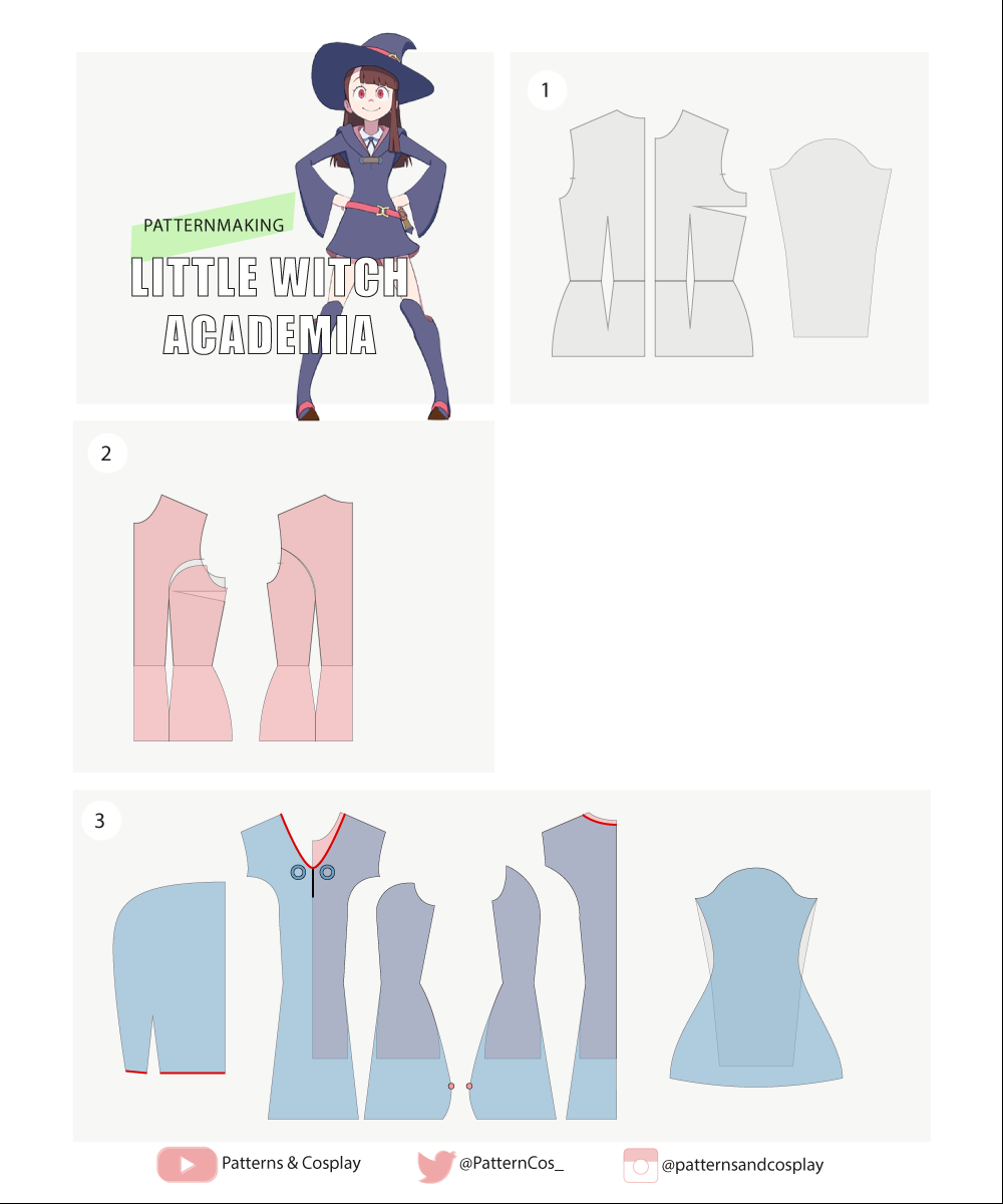 Akko | Little Witch Academia | Cosplay sewing pattern tutorial ...