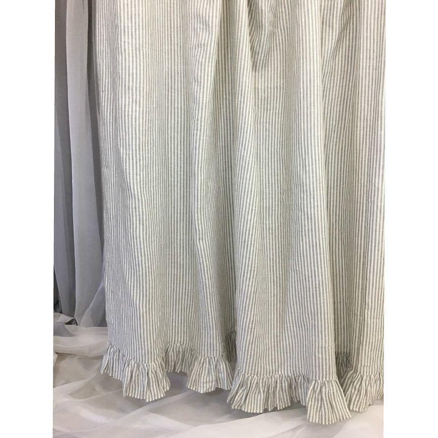Grey Stripe Linen Shower Curtain Features Ruffle Hem Mildew Free 72x72 72x85 72x94 Custom Curtains Bat Ruffle Shower Curtains Custom Curtains Bathroom Decor