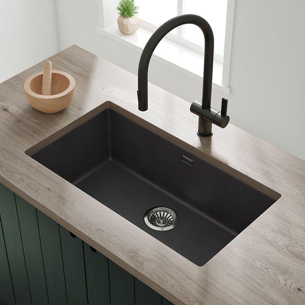 Vellamo Terra Extra Large 1 Bowl Granite Composite Undermount Kitchen Sink Waste Kit 774 X 434mm In 2020 Sink Small Kitchen Sink Kitchen Island With Sink