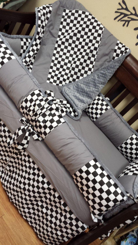 Grey Checkered Flag Crib Set You Design Several Colors
