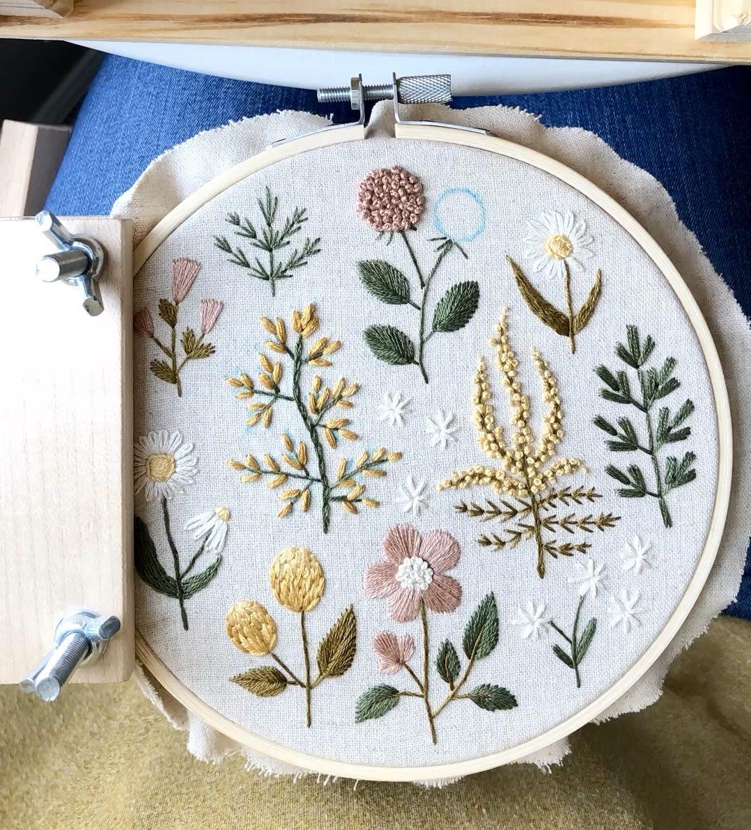 Botanical hand embroidery
