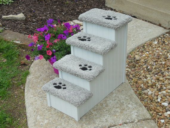 Dog Steps, Cat Steps, Very Tall 28 Inch High Designer Dog Stairs, All Wood  And Screw Construction Pet Steps.