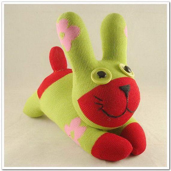 Handmade Sock Rabbit/bunny Stuffed Animal Doll by supersockmonkeys, $10.99