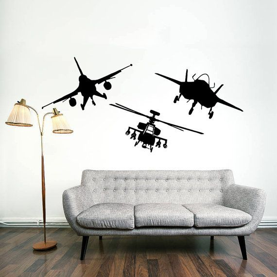 Straight On View Of A Few Fighter Jets And A Helicopter Vinyl Wall Decals Wall Decals Map Wall Decal
