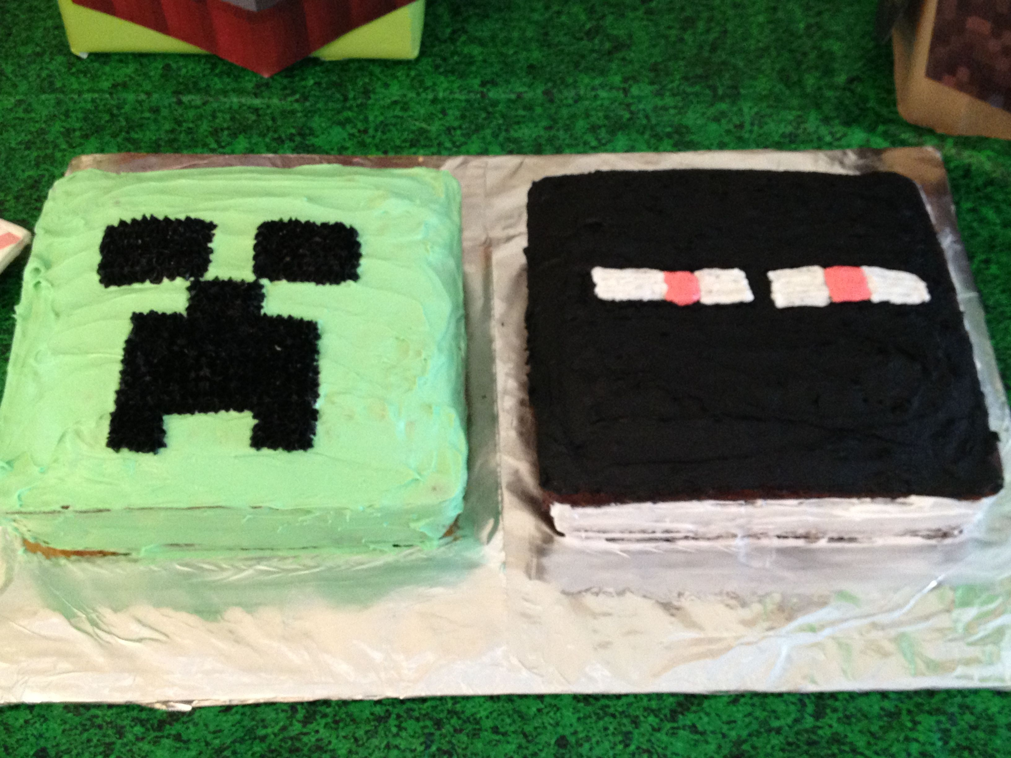 Creeper And Enderman Cakes Super Easy To Decorate Ingredients
