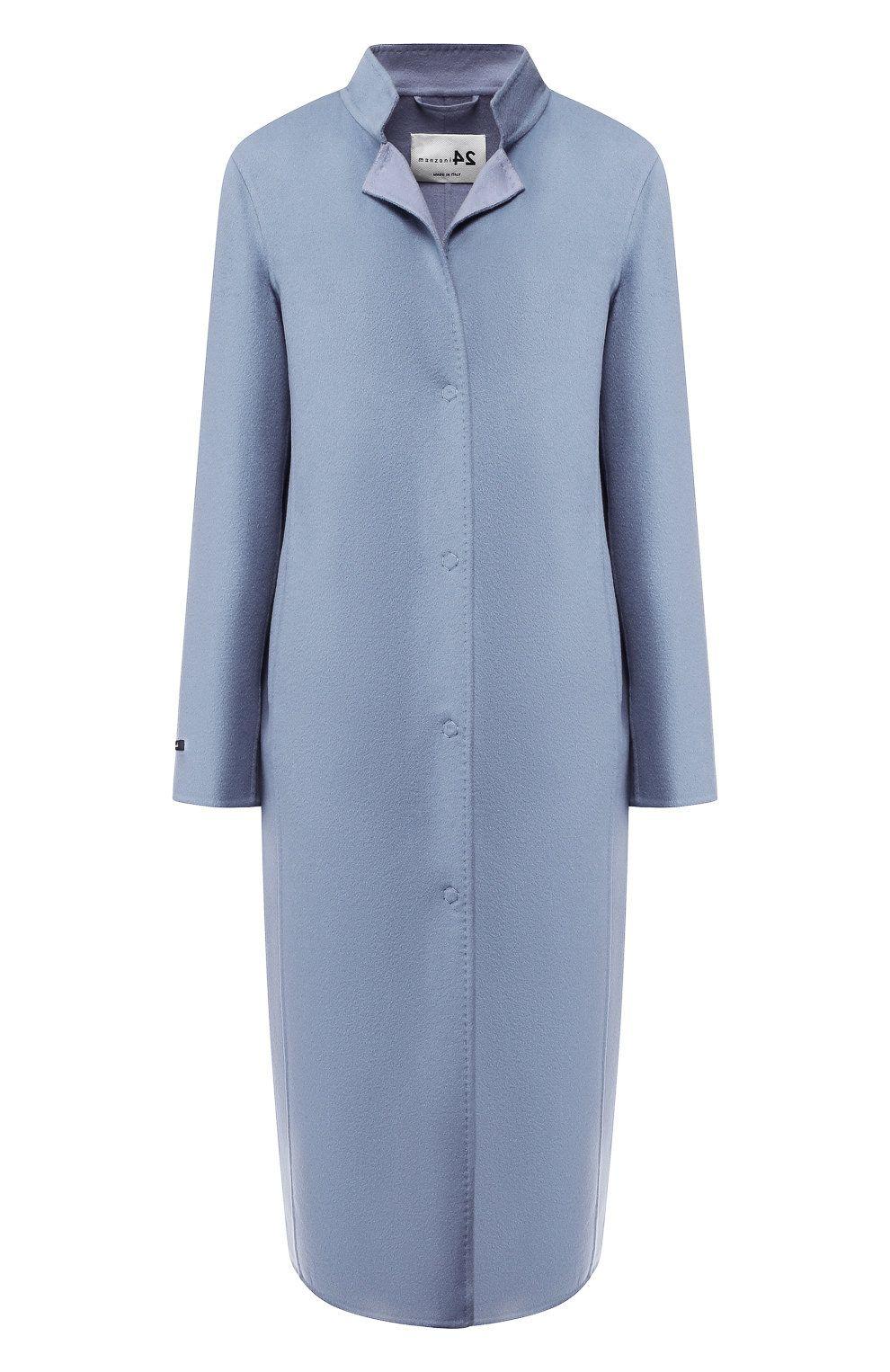 24212971 Пальто из смеси шерсти и кашемира MANZONI24 голубого цвета — купить за  193500 руб. в